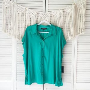 ELOQUII Teal Button Down Blouse sz 20